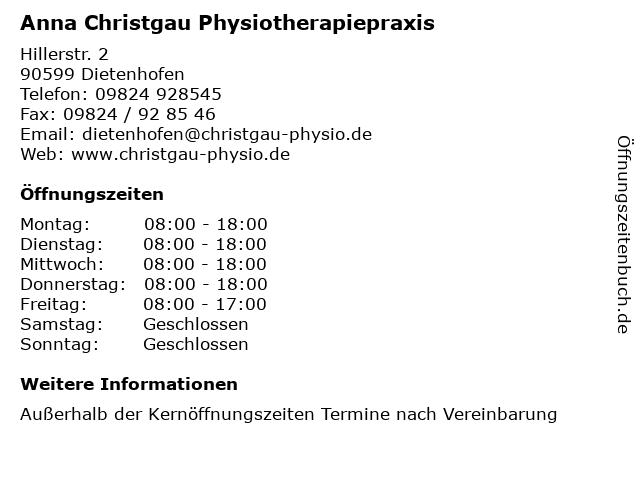 Anna Christgau Physiotherapiepraxis in Dietenhofen: Adresse und Öffnungszeiten