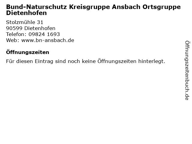 Bund-Naturschutz Kreisgruppe Ansbach Ortsgruppe Dietenhofen in Dietenhofen: Adresse und Öffnungszeiten
