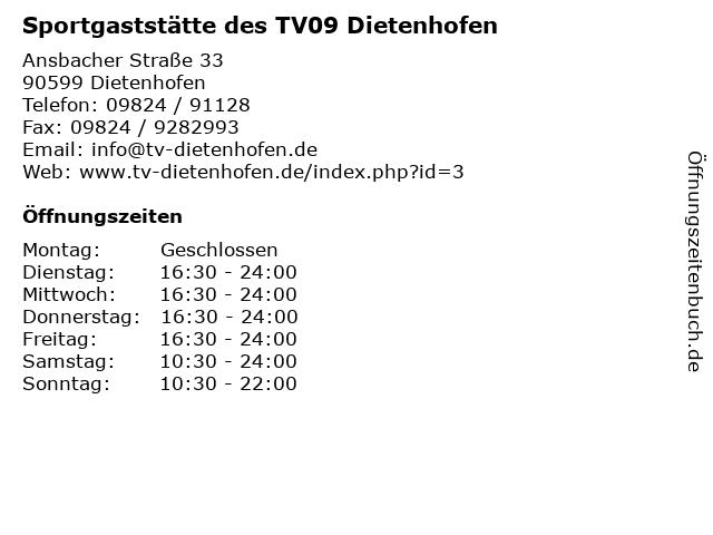 Sportgaststätte des TV09 Dietenhofen in Dietenhofen: Adresse und Öffnungszeiten