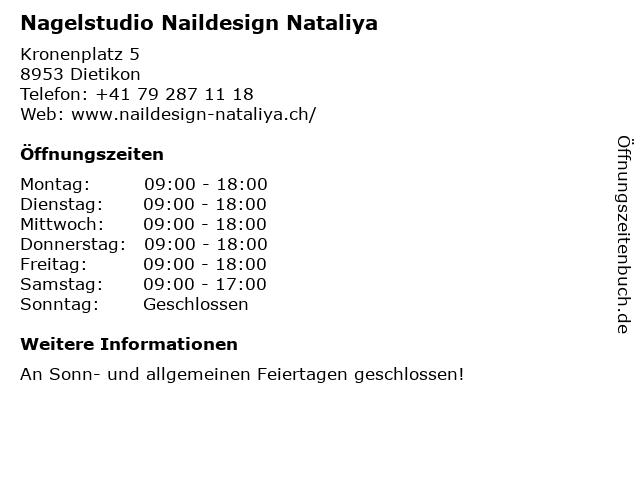 Nagelstudio Naildesign Nataliya in Dietikon: Adresse und Öffnungszeiten