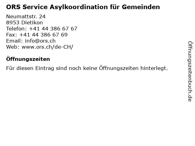 ORS Service Asylkoordination für Gemeinden in Dietikon: Adresse und Öffnungszeiten