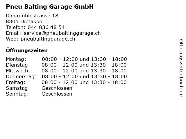 Pneu Balting Garage GmbH in Dietlikon: Adresse und Öffnungszeiten