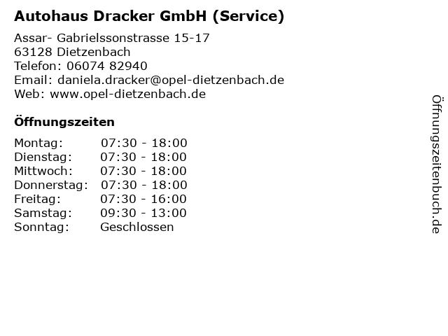 Autohaus Dracker GmbH (Service) in Dietzenbach: Adresse und Öffnungszeiten
