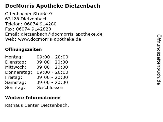 DocMorris Apotheke Dietzenbach in Dietzenbach: Adresse und Öffnungszeiten