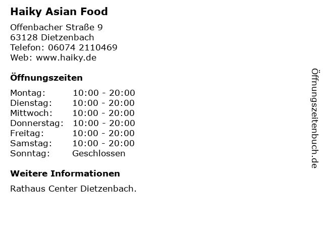 Haiky Asian Food in Dietzenbach: Adresse und Öffnungszeiten
