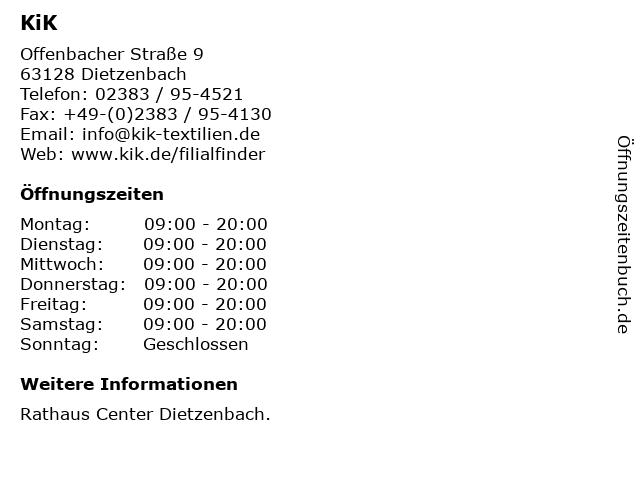 KiK Textilien & Non-Food GmbH in Dietzenbach: Adresse und Öffnungszeiten
