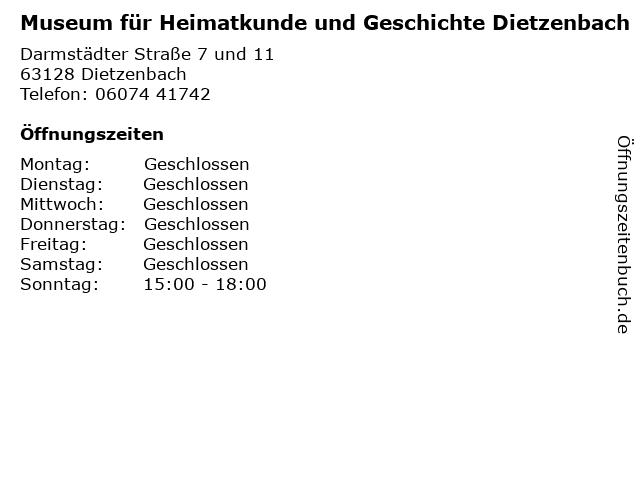 Museum für Heimatkunde und Geschichte Dietzenbach in Dietzenbach: Adresse und Öffnungszeiten