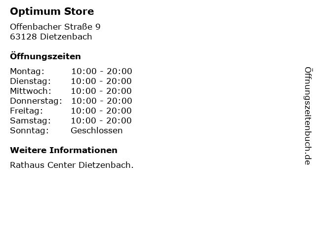 Optimum Store in Dietzenbach: Adresse und Öffnungszeiten