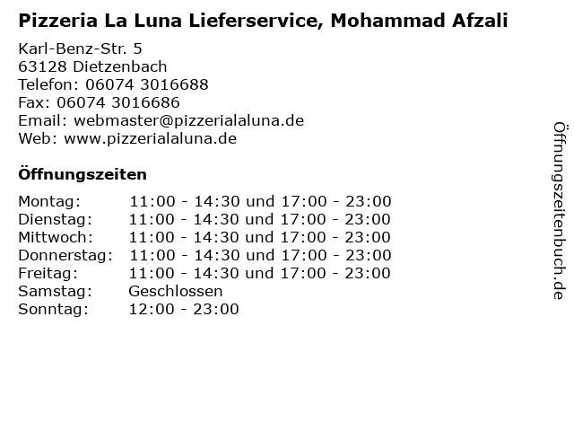 Pizzeria La Luna Lieferservice, Mohammad Afzali in Dietzenbach: Adresse und Öffnungszeiten