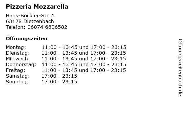 Pizzeria Mozzarella in Dietzenbach: Adresse und Öffnungszeiten