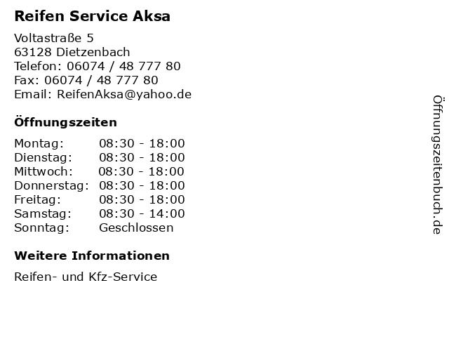 Reifen Service Aksa in Dietzenbach: Adresse und Öffnungszeiten