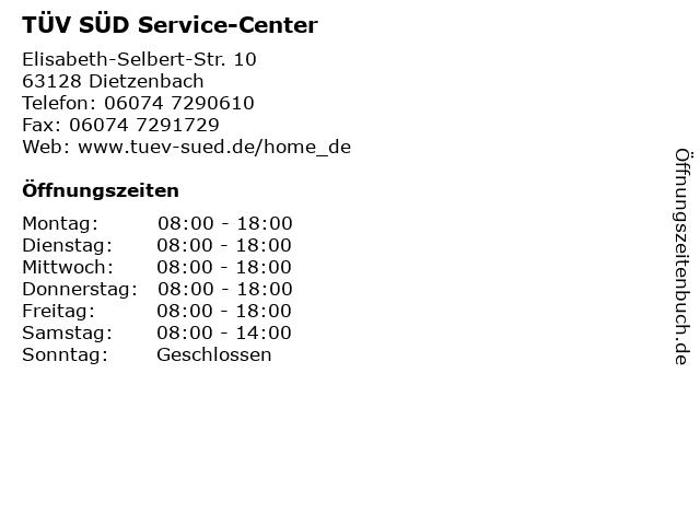 TÜV SÜD Service-Center in Dietzenbach: Adresse und Öffnungszeiten