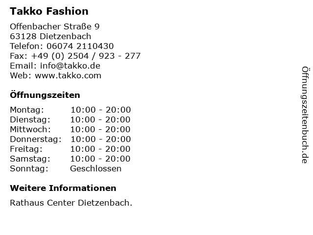 Takko Fashion in Dietzenbach: Adresse und Öffnungszeiten