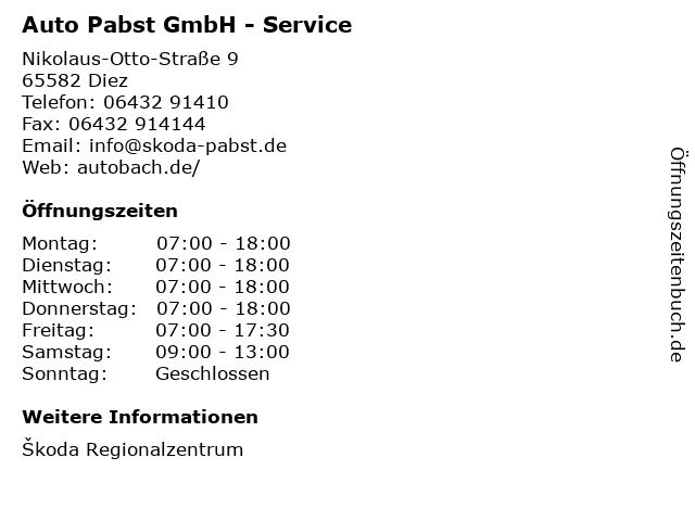 Auto Pabst GmbH - Service in Diez: Adresse und Öffnungszeiten