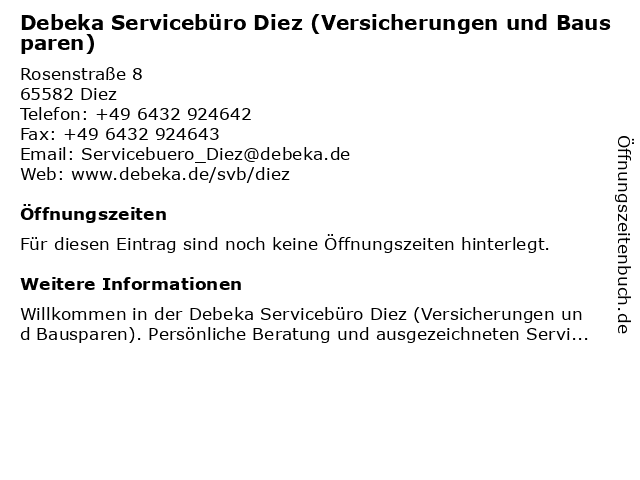 Debeka Servicebüro Diez (Versicherungen und Bausparen) in Diez: Adresse und Öffnungszeiten