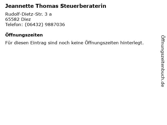 Jeannette Thomas Steuerberaterin in Diez: Adresse und Öffnungszeiten