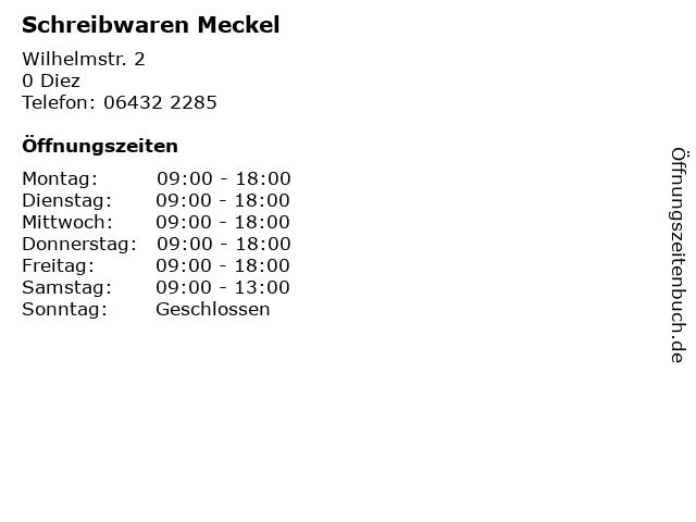 Schreibwaren Meckel in Diez: Adresse und Öffnungszeiten
