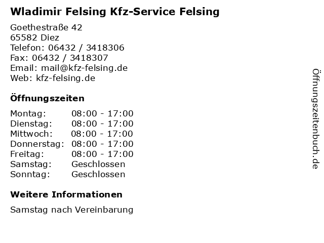 Wladimir Felsing Kfz-Service Felsing in Diez: Adresse und Öffnungszeiten
