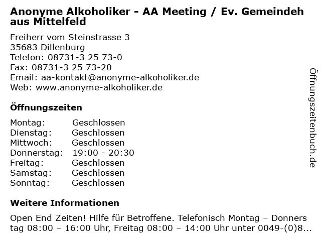 Anonyme Alkoholiker - AA Meeting / Ev. Gemeindehaus Mittelfeld in Dillenburg: Adresse und Öffnungszeiten
