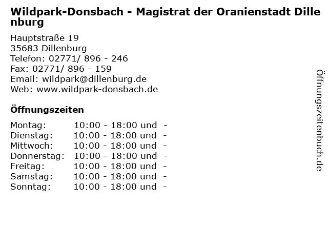 Wildpark-Donsbach - Magistrat der Oranienstadt Dillenburg in Dillenburg: Adresse und Öffnungszeiten