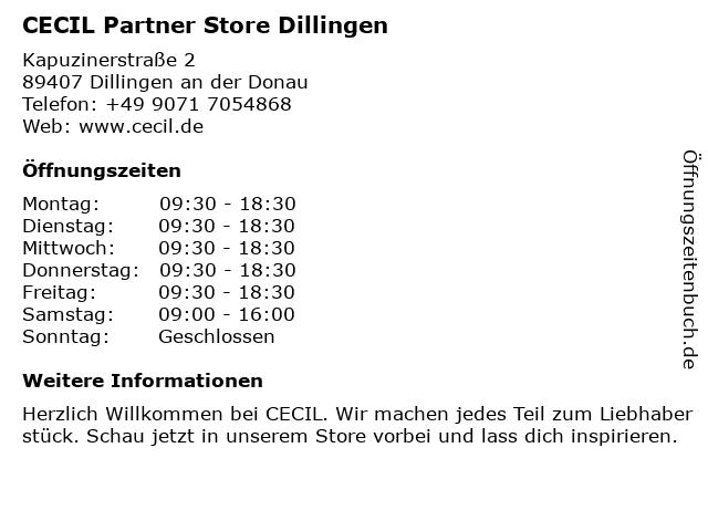 CECIL Partner Store Dillingen in Dillingen an der Donau: Adresse und Öffnungszeiten