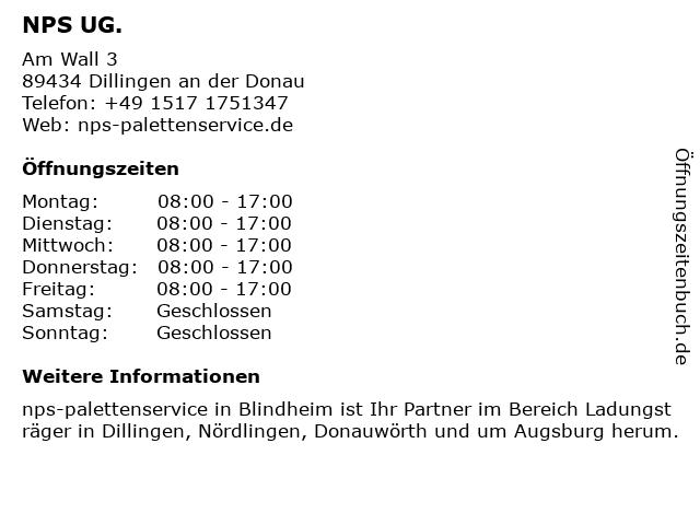 NPS UG. in Dillingen an der Donau: Adresse und Öffnungszeiten