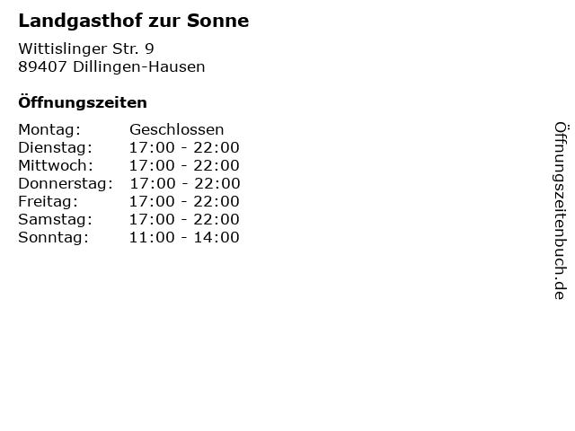 Á… Offnungszeiten Gasthof Sonne Wittislinger Str 9 In Dillingen Hausen