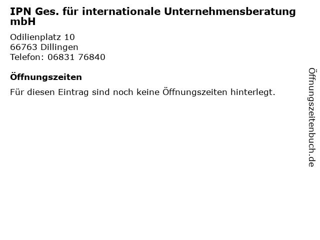 IPN Ges. für internationale Unternehmensberatung mbH in Dillingen: Adresse und Öffnungszeiten