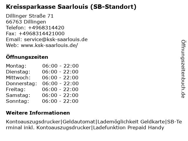 Kreissparkasse Saarlouis - Filiale Diefflen in Dillingen: Adresse und Öffnungszeiten