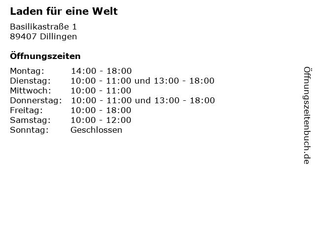 Laden für eine Welt in Dillingen: Adresse und Öffnungszeiten