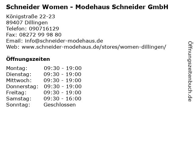 Schneider Women - Modehaus Schneider GmbH in Dillingen: Adresse und Öffnungszeiten