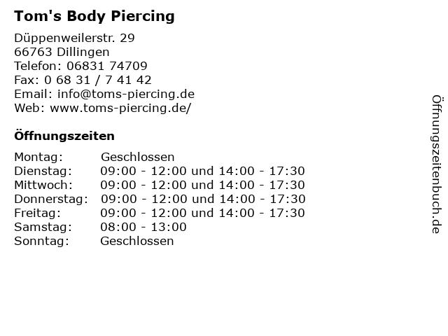 Tom's Body Piercing in Dillingen: Adresse und Öffnungszeiten
