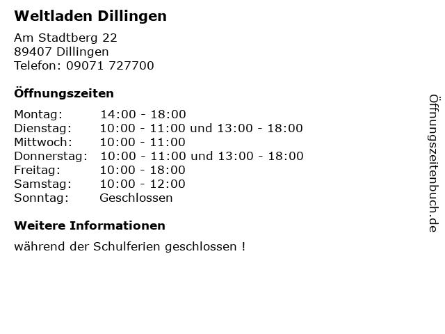 Weltladen Dillingen in Dillingen: Adresse und Öffnungszeiten
