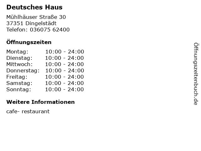 Deutsches Haus in Dingelstädt: Adresse und Öffnungszeiten