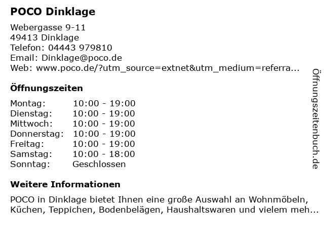 ᐅ öffnungszeiten Poco Domäne Webergasse 11 In Dinklage
