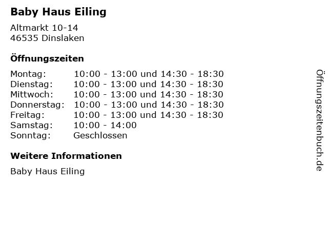 Baby Haus Eiling in Dinslaken: Adresse und Öffnungszeiten