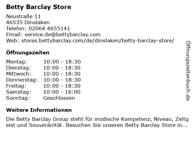 Betty Barclay Store in Dinslaken: Adresse und Öffnungszeiten