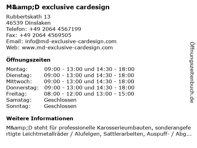 M&D exclusive cardesign in Dinslaken: Adresse und Öffnungszeiten