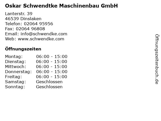 Oskar Schwendtke Maschinenbau GmbH in Dinslaken: Adresse und Öffnungszeiten