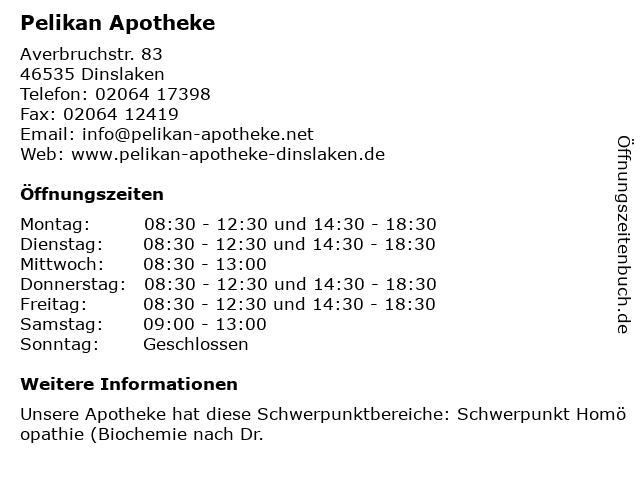 Pelikan-Apotheke in Dinslaken: Adresse und Öffnungszeiten