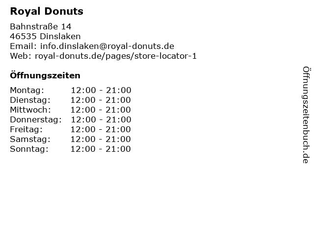 Royal Donuts in Dinslaken: Adresse und Öffnungszeiten