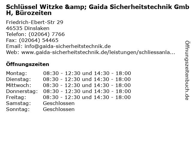 Schlüssel Witzke & Gaida Sicherheitstechnik GmbH, Bürozeiten in Dinslaken: Adresse und Öffnungszeiten