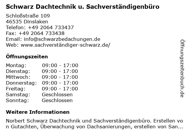 Schwarz Dachtechnik u. Sachverständigenbüro in Dinslaken: Adresse und Öffnungszeiten
