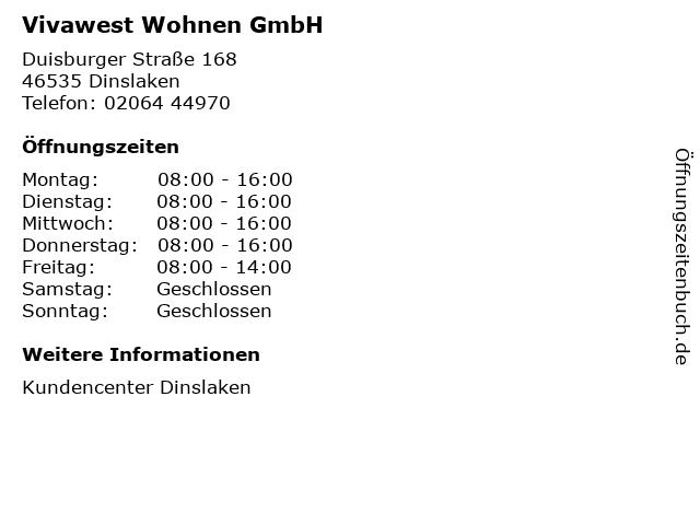 Vivawest Wohnen GmbH in Dinslaken: Adresse und Öffnungszeiten