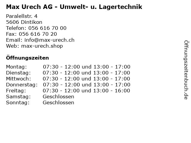 Max Urech AG - Umwelt- u. Lagertechnik in Dintikon: Adresse und Öffnungszeiten