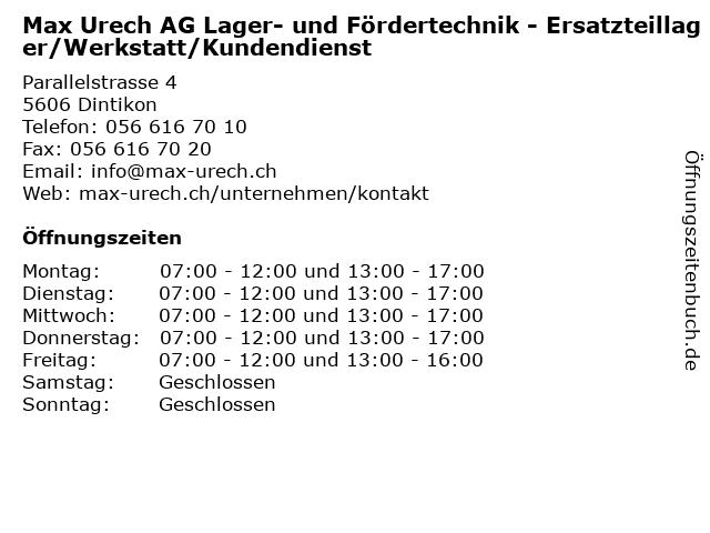 Max Urech AG Lager- und Fördertechnik - Ersatzteillager/Werkstatt/Kundendienst in Dintikon: Adresse und Öffnungszeiten