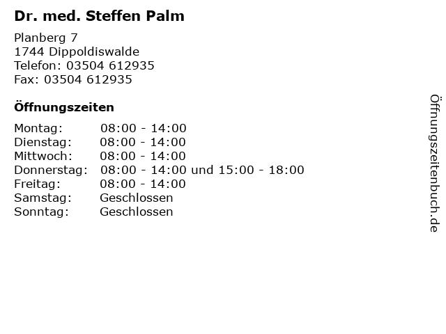 Dr. med. Steffen Palm in Dippoldiswalde: Adresse und Öffnungszeiten