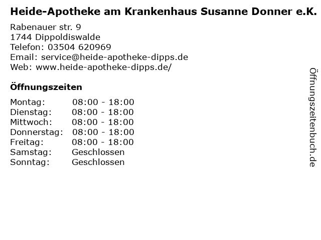 Heide-Apotheke am Krankenhaus in Dippoldiswalde: Adresse und Öffnungszeiten