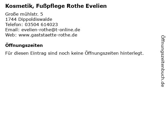 Kosmetik, Fußpflege Rothe Evelien in Dippoldiswalde: Adresse und Öffnungszeiten