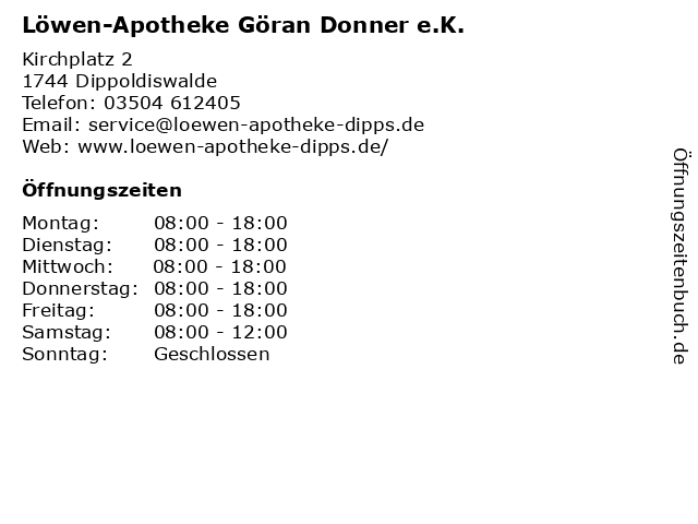 Löwen-Apotheke Göran Donner e.K. in Dippoldiswalde: Adresse und Öffnungszeiten